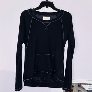 Thin Navy Blue Abercrombie Long Sleeve Stitch Top
